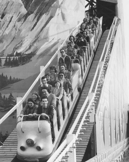 The Yarmouth Pleasure Beach, roller coaster. Date: July 1974.