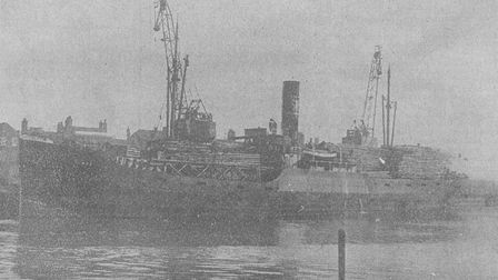 The French steamer Circe arrives in Yarmouth carrying the new rollercoaster. Date: February 12, 1932