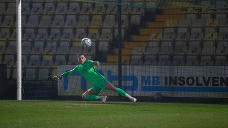 Shaun McDonald, Goalkeeper of Torquay United can only look on as he is sent the wrong way during a pe
