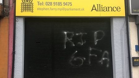 Stephen Farry's office was targeted by graffiti