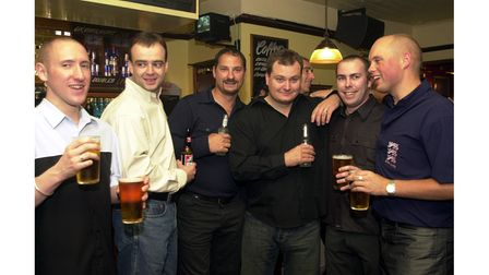 Enjoying a drink at The Cock & Pye in Ipswich in October 2002