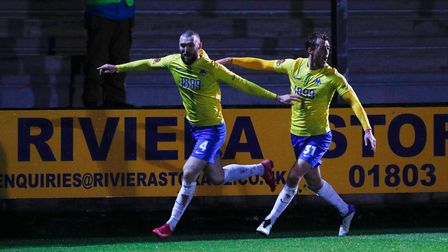 Goal celebrations for Kyle Cameron of Torquay United during the National League match between Torqua