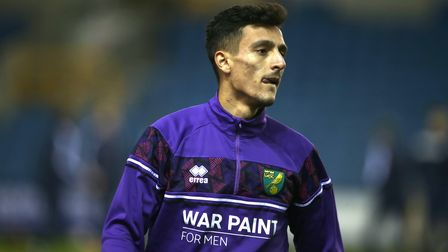 Dimitris Giannoulis of Norwich before the Sky Bet Championship match at The Den, London Picture by