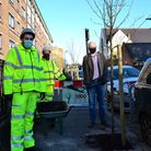 Mayor of Hackney with council officers planting tree.