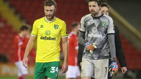 Ben Gibson of Norwich and Tim Krul of Norwich at the end of the FA Cup match at Oakwell, BarnsleyP