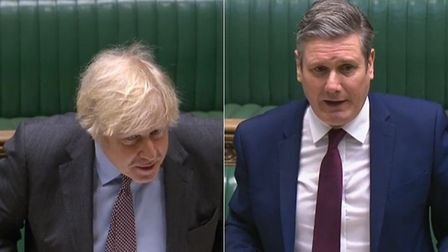 Boris Johnson (L) and Sir Keir Starmer during this week's Prime Minister's Questions