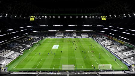 General view as Tottenham Hotspur and Liverpool players warm up before the Premier League match at t