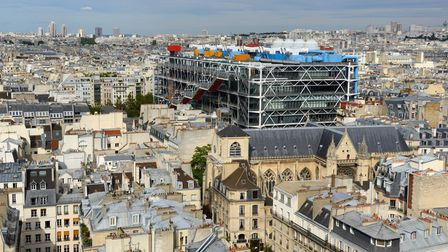 A view of Paris, including the Pompidou Centre in the foreground, from the Tour Saint-Jacques