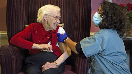 EMBARGOED TO 1700 THURSDAY JANUARY 7 Ellen Prosser, known as Nell, who is 100 years old, receives th