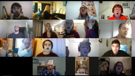 A screenshot from a Lister Community School choir session on Zoom.