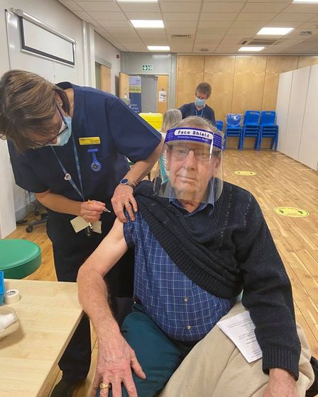 Kenneth Payne receiving his vaccine