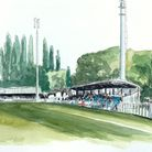 A painting of Herns Lane, WGC FC, by artist Sam Edwards