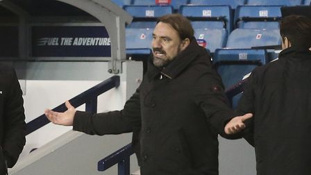 Norwich Head Coach Daniel Farke reacts during the Sky Bet Championship match at The Den, London