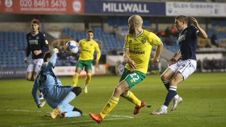 Bartosz Bialkowski of Millwall makes a save from Teemu Pukki of Norwich during the Sky Bet Champions