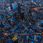 Aerial view of City of London at Night, UK