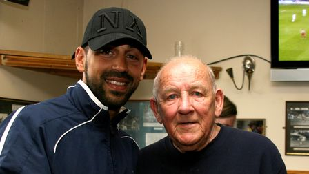 John Feneley with St Albans City FC player Ram Marwa.