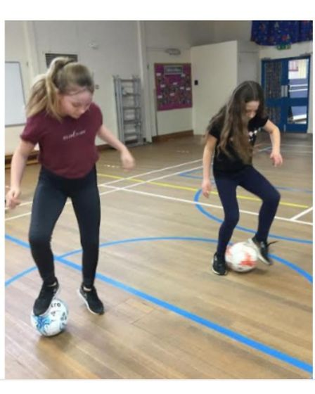 Carlton Colville Primary School pupils Lily and Millie, in Year 6, taking part in the latest Virtual PE challenge.