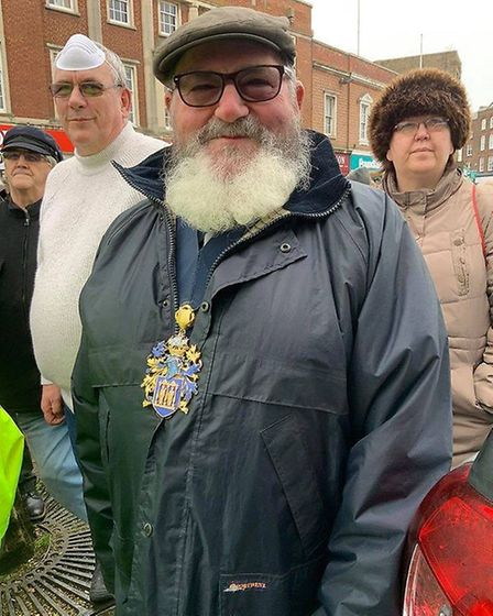 Early last year Wisbech mayor Cllr Michael Hill joined a WisWin protest in Wisbech. He is pictured with Cllr Dave Patrick...