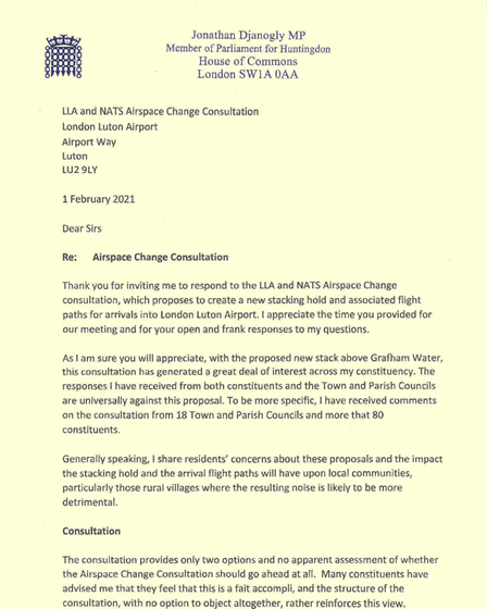 Letter Opposing London Luton Airport Stack
