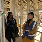 Andrea Silvain andSarah Seleznyov on a site visit to the school