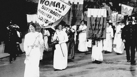 Suffragettes marching in London for women's votes. Picture: PA