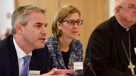 MP Steve Barclay with Home Office Minister Sarah Newton and the Bishop of Ely, the Rt Rev Stephen Co