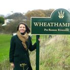 Cllr Annie Brewster at the entrance to Wheathampstead.