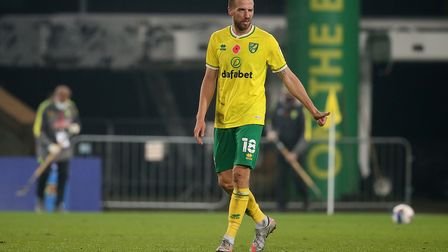 Marco Stiepermann of Norwich at the end of the Sky Bet Championship match at Carrow Road, Norwich P