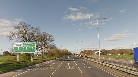 Northbound carriageway of the A12 near Capel St Mary