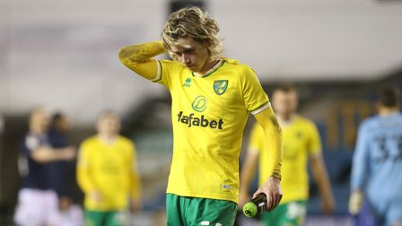 Todd Cantwell of Norwich looks dejected at the end of the Sky Bet Championship match at The Den, Lon