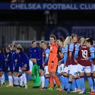 Chelsea and West Ham line up before the FA Women's Continental Tyres League Cup Semi Final match at