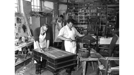 Furniture repairs and restoration at Footman's in September 1966.