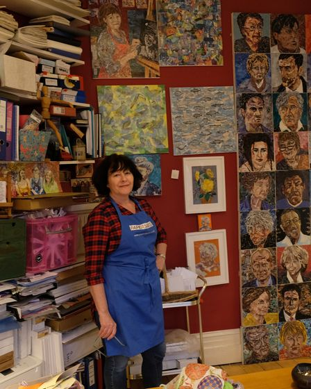 Ros says looking at her artwork that hangs on her studio wall is like looking back in history.