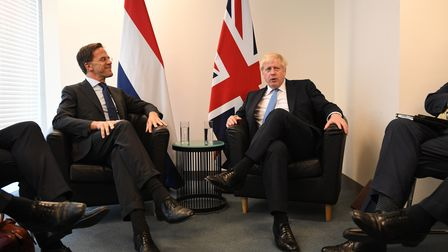 Boris Johnson (right) meets Mark Rutte at the 74th Session of the UN General Assembly