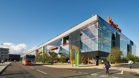 Picture of exterior of Here East in Olympic Park.