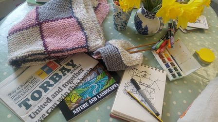 Ideas to start a project - some wool and knitting needles, some watercolour paints, some pens, an artist's pad and drawing pencils, a colouring book