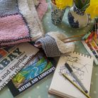 Ideas to start a project - some wool and knitting needles, some watercolour paints, some pens, an artist's pad and drawing...