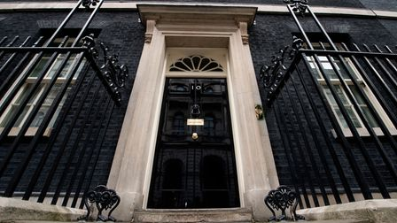 The door of 10 Downing Street, London, as Britain goes to the ballot box today in the most uncertain