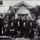 Oswald, Horace and Eustace stand left to right with the Wright brothers at a meeting of the Aero Clu