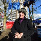 Maria Gallastegui at the camp outside Dixon Clark Court Highbury Corner 05.02.21.