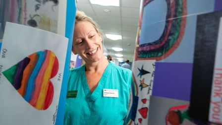The Royal Free's Sinead Hanton smiles at some beautiful cards sent to support NHS staff