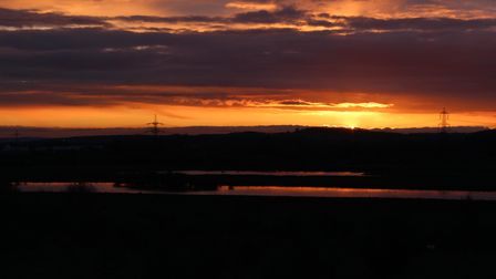Sunset over Fairburn Ings RSPB Reserve, West Yorkshire, UK