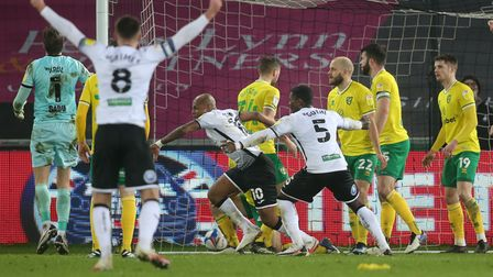 Andre Ayew put Swansea City in front against Norwich City in a Championship promotion shoot out