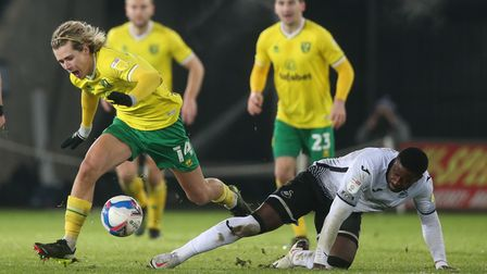 Todd Cantwell was prominent in a more central role in Norwich City's 2-0 Championship defeat at Swansea City
