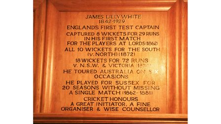 The honours board for James Lillywhite