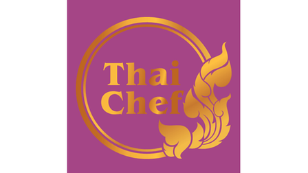 Thai Chef logo in purple with gold lettering