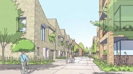 A concept image of the new homes development on the site of the former Deben High School at Felixstowe - looking down the...