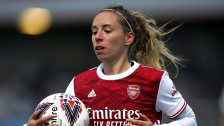 Arsenal's Jordan Nobbs with the ball during the Barclays FA WSL match at Meadow Park, London.