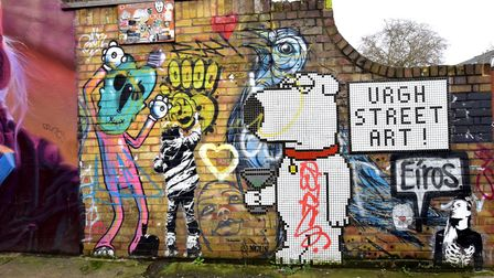 """""""Urgh Street Art"""", featuring Brian Griffin, in Castlehaven Road"""
