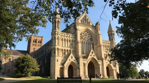 St Albans Cathedral in the September sun.